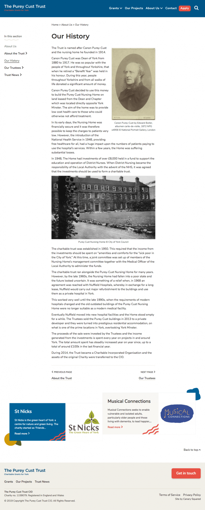 Our History – The Purey Cust Trust screenshot